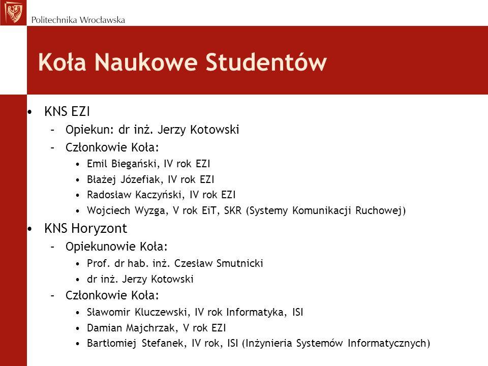 Koła Naukowe Studentów KNS EZI –Opiekun: dr inż.