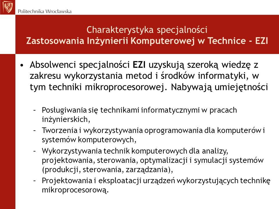 Charakterystyka specjalności Zastosowania Inżynierii Komputerowej w Technice - EZI Absolwenci specjalności EZI uzyskują szeroką wiedzę z zakresu wykorzystania metod i środków informatyki, w tym techniki mikroprocesorowej.