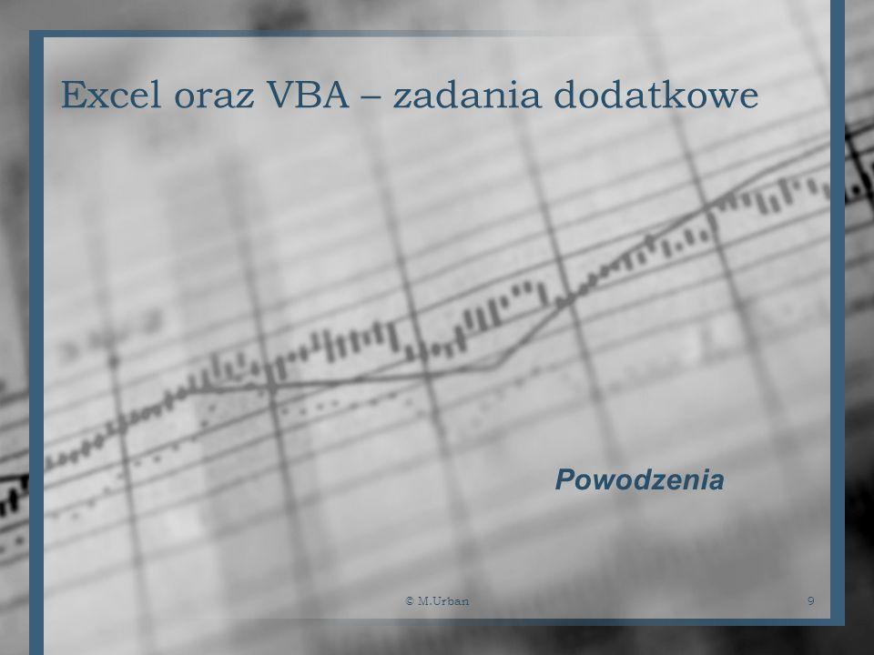 © M.Urban9 Excel oraz VBA – zadania dodatkowe Powodzenia