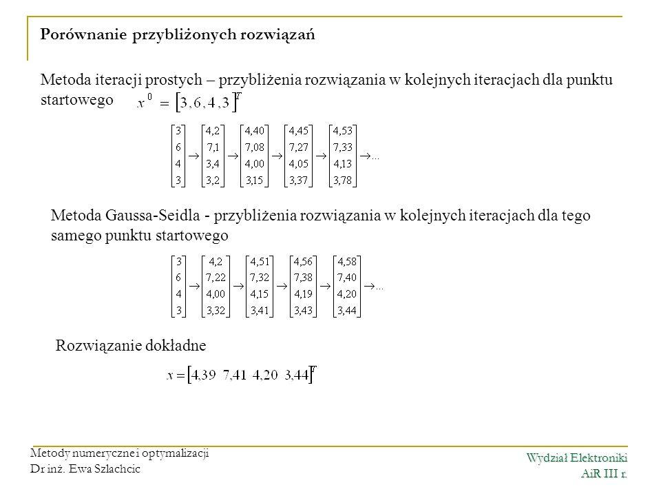 Wydział Elektroniki AiR III r. Metody numeryczne i optymalizacji Dr inż. Ewa Szlachcic Porównanie przybliżonych rozwiązań Metoda iteracji prostych – p