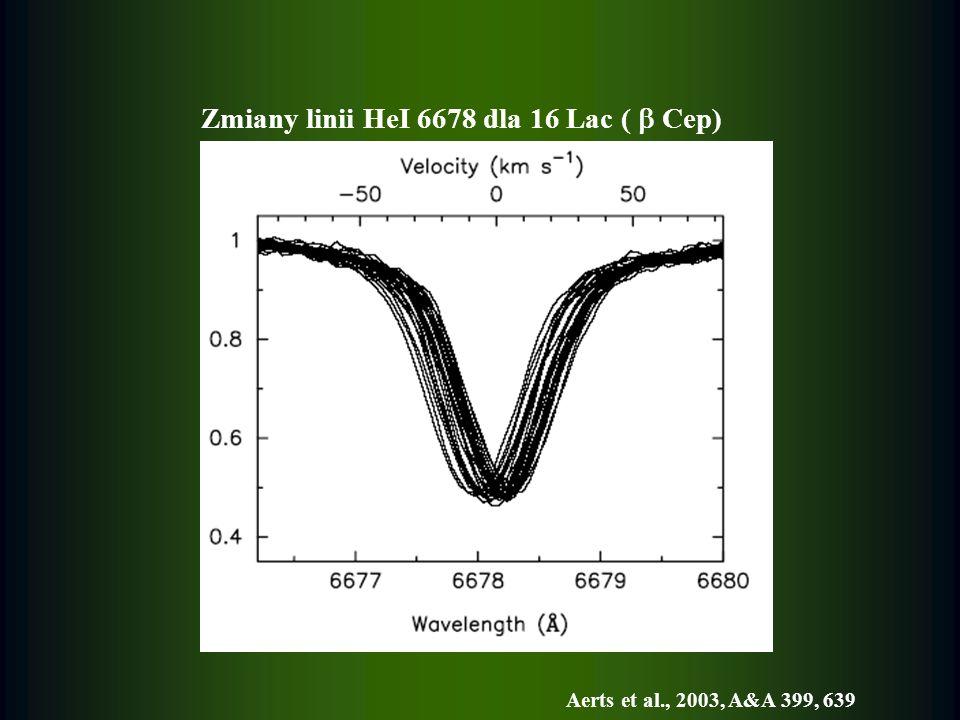 Zmiany linii HeI 6678 dla 16 Lac ( Cep) Aerts et al., 2003, A&A 399, 639