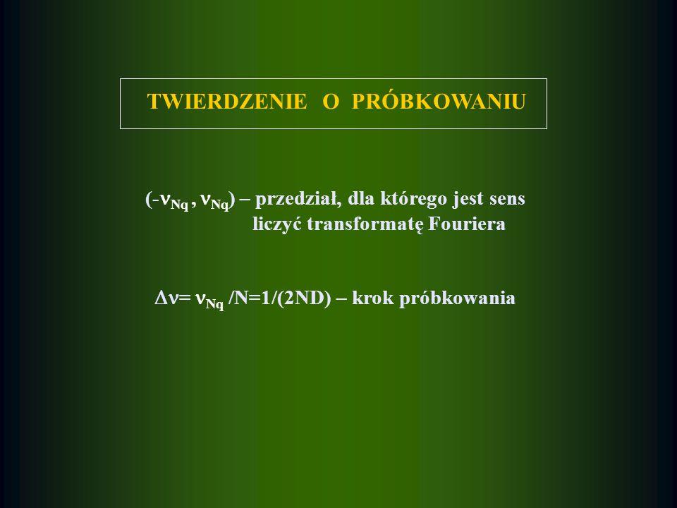TWIERDZENIE O PRÓBKOWANIU (- Nq, Nq ) – przedział, dla którego jest sens liczyć transformatę Fouriera = Nq /N=1/(2ND) – krok próbkowania