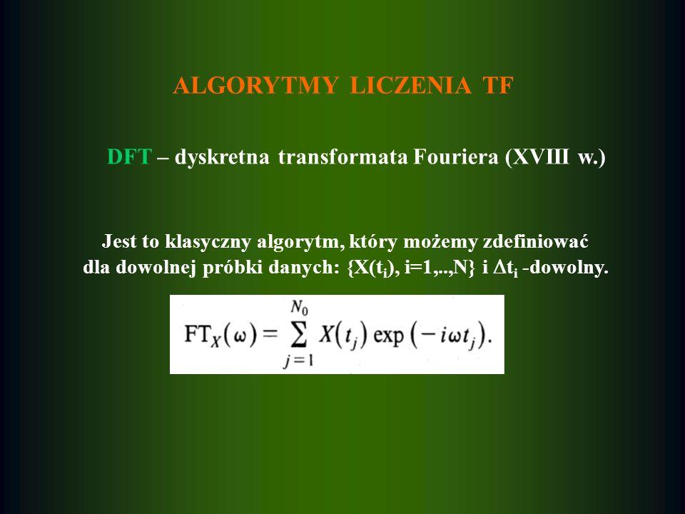 ALGORYTMY LICZENIA TF DFT – dyskretna transformata Fouriera (XVIII w.) Jest to klasyczny algorytm, który możemy zdefiniować dla dowolnej próbki danych