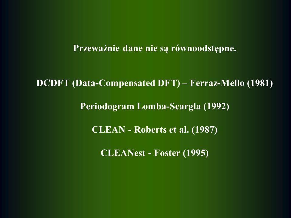 Przeważnie dane nie są równoodstępne. DCDFT (Data-Compensated DFT) – Ferraz-Mello (1981) Periodogram Lomba-Scargla (1992) CLEAN - Roberts et al. (1987