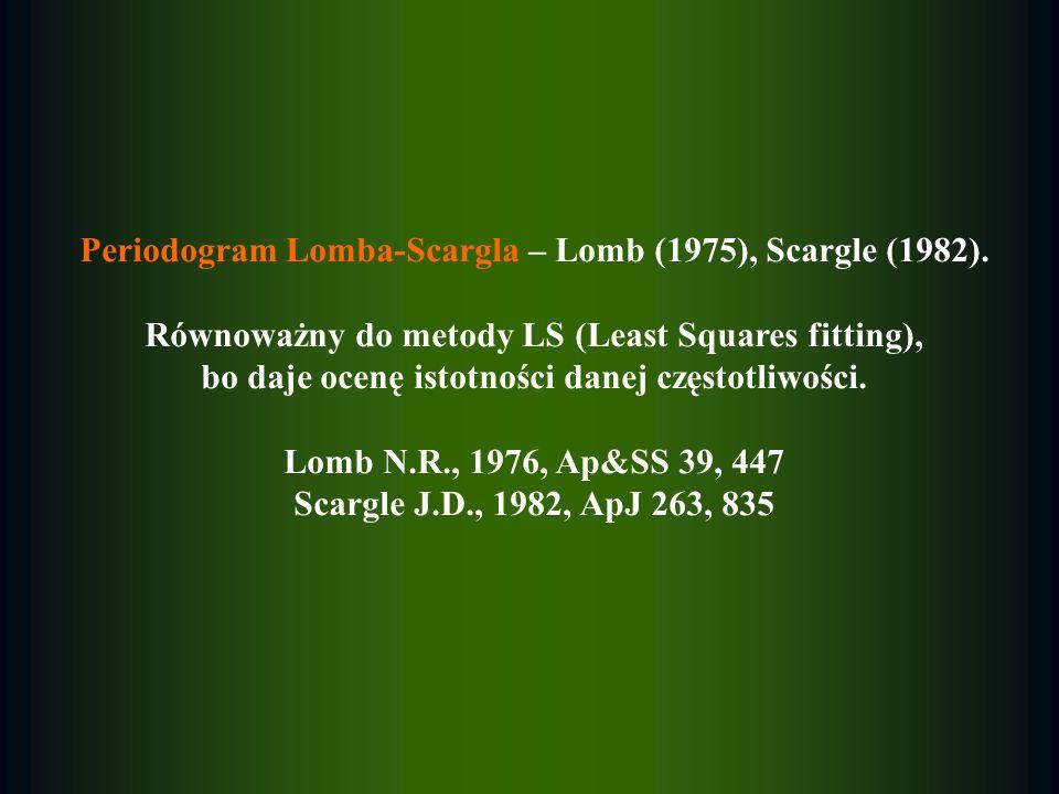 Periodogram Lomba-Scargla – Lomb (1975), Scargle (1982). Równoważny do metody LS (Least Squares fitting), bo daje ocenę istotności danej częstotliwośc
