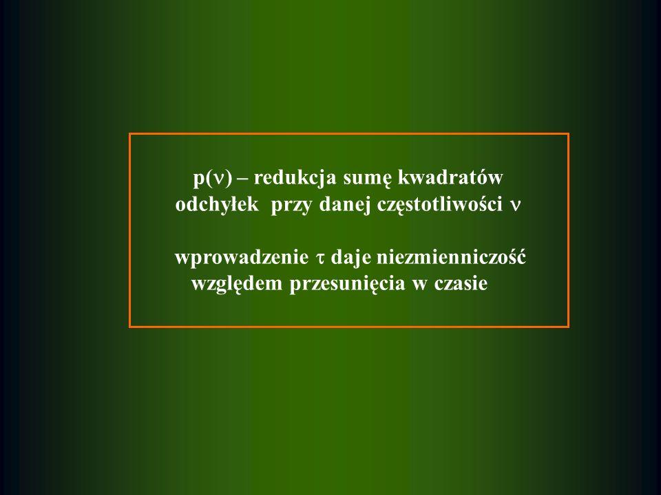 p( ) – redukcja sumę kwadratów odchyłek przy danej częstotliwości wprowadzenie daje niezmienniczość względem przesunięcia w czasie