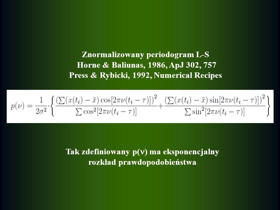 Znormalizowany periodogram L-S Horne & Baliunas, 1986, ApJ 302, 757 Press & Rybicki, 1992, Numerical Recipes Tak zdefiniowany p( ) ma eksponencjalny r
