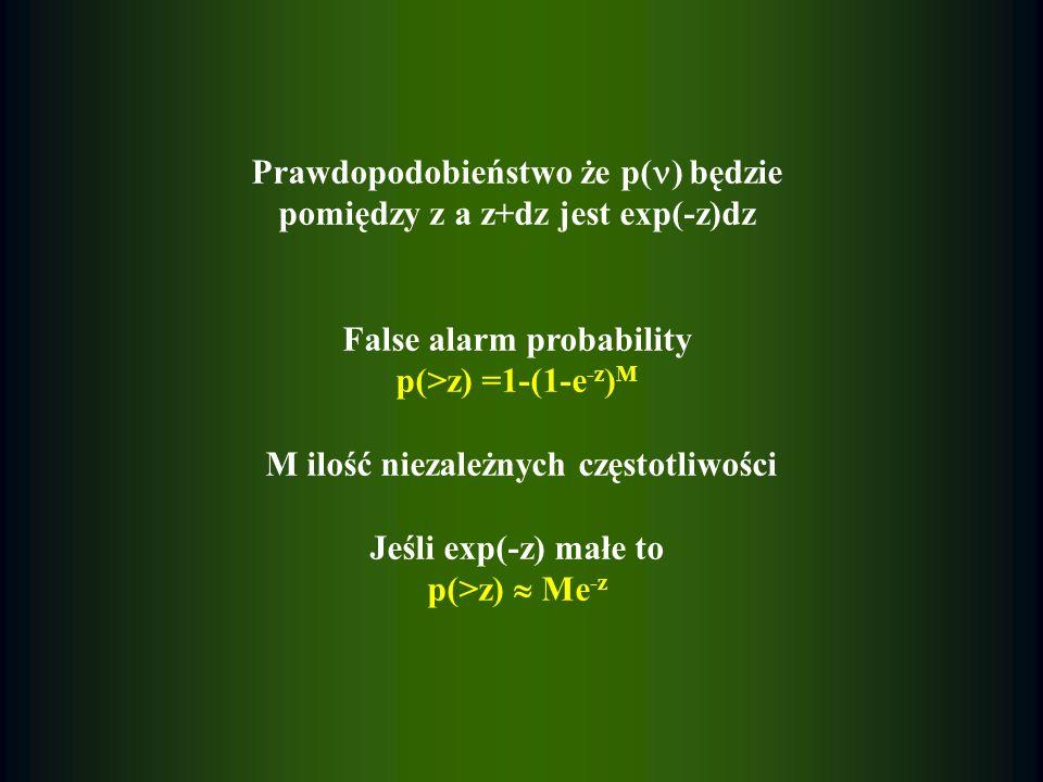 Prawdopodobieństwo że p( ) będzie pomiędzy z a z+dz jest exp(-z)dz False alarm probability p(>z) =1-(1-e -z ) M M ilość niezależnych częstotliwości Je