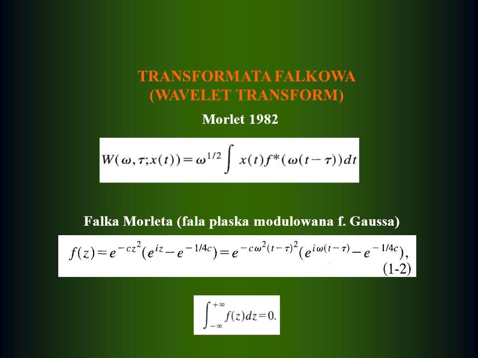 TRANSFORMATA FALKOWA (WAVELET TRANSFORM) Morlet 1982 Falka Morleta (fala płaska modulowana f. Gaussa)