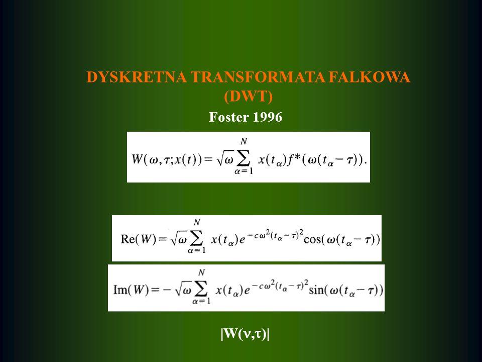 DYSKRETNA TRANSFORMATA FALKOWA (DWT) Foster 1996 |W(, )|