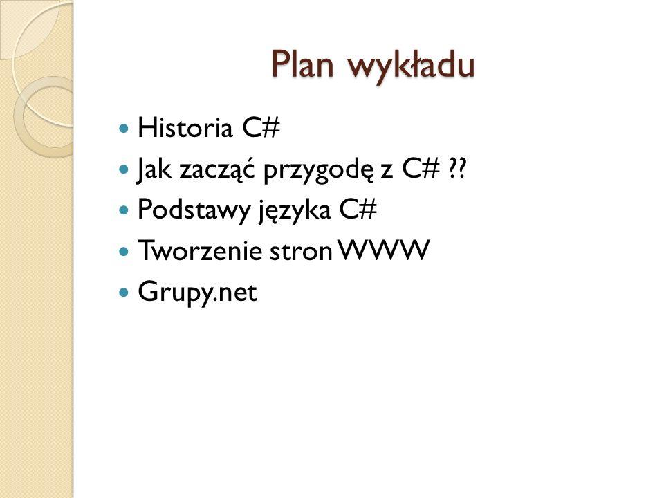 Plan wykładu Historia C# Jak zacząć przygodę z C# ?? Podstawy języka C# Tworzenie stron WWW Grupy.net