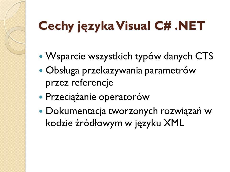 Cechy języka Visual C#.NET Wsparcie wszystkich typów danych CTS Obsługa przekazywania parametrów przez referencje Przeciążanie operatorów Dokumentacja