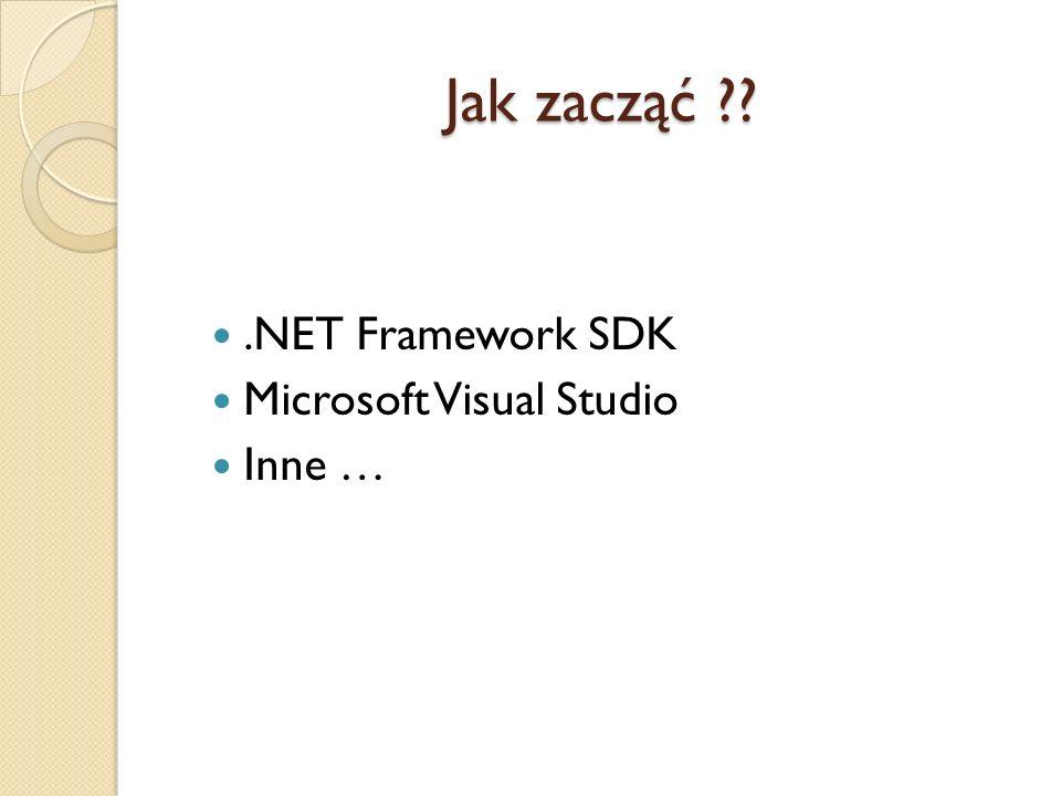 Jak zacząć ??.NET Framework SDK Microsoft Visual Studio Inne …
