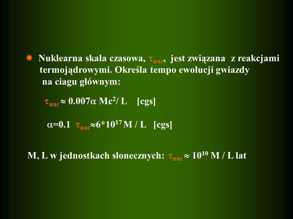 Nuklearna skala czasowa, nuc, jest związana z reakcjami termojądrowymi. Określa tempo ewolucji gwiazdy na ciagu głównym: nuc 0.007 Mc 2 / L [cgs] =0.1