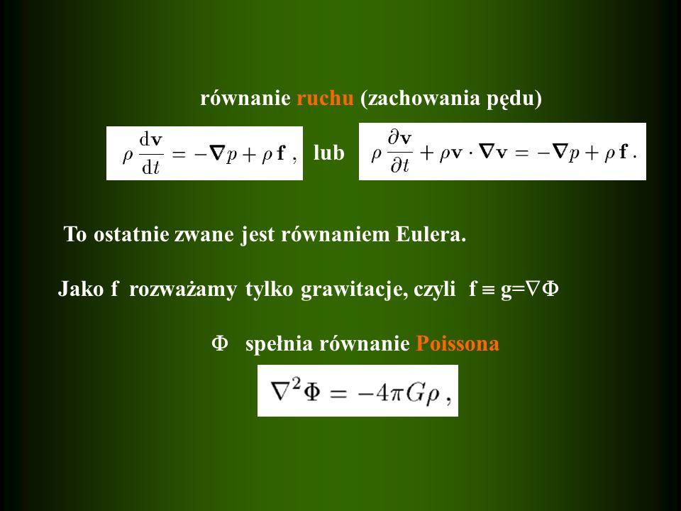 równanie ruchu (zachowania pędu) lub To ostatnie zwane jest równaniem Eulera. Jako f rozważamy tylko grawitacje, czyli f g= spełnia równanie Poissona