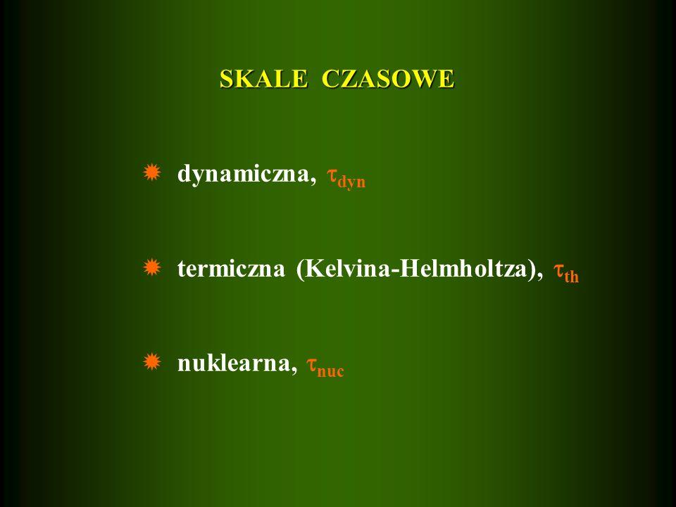 SKALE CZASOWE dynamiczna, dyn termiczna (Kelvina-Helmholtza), th nuklearna, nuc