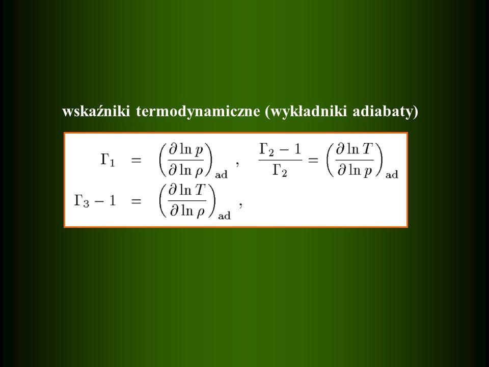 wskaźniki termodynamiczne (wykładniki adiabaty)
