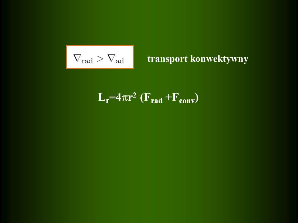transport konwektywny L r =4 r 2 (F rad +F conv )