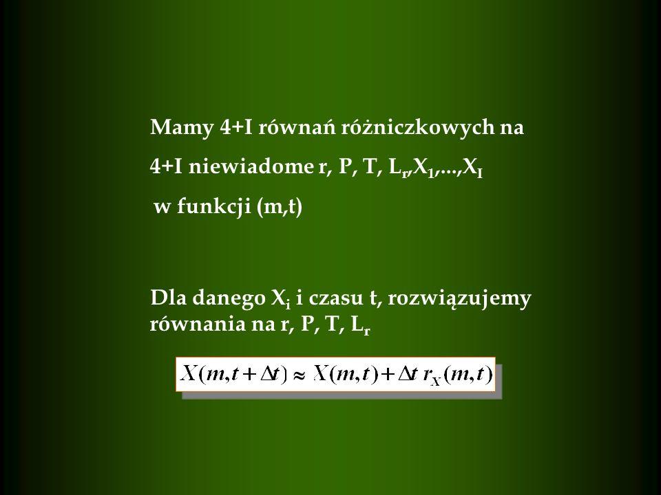 Mamy 4+I równań różniczkowych na 4+I niewiadome r, P, T, L r,X 1,...,X I w funkcji (m,t) Dla danego X i i czasu t, rozwiązujemy równania na r, P, T, L