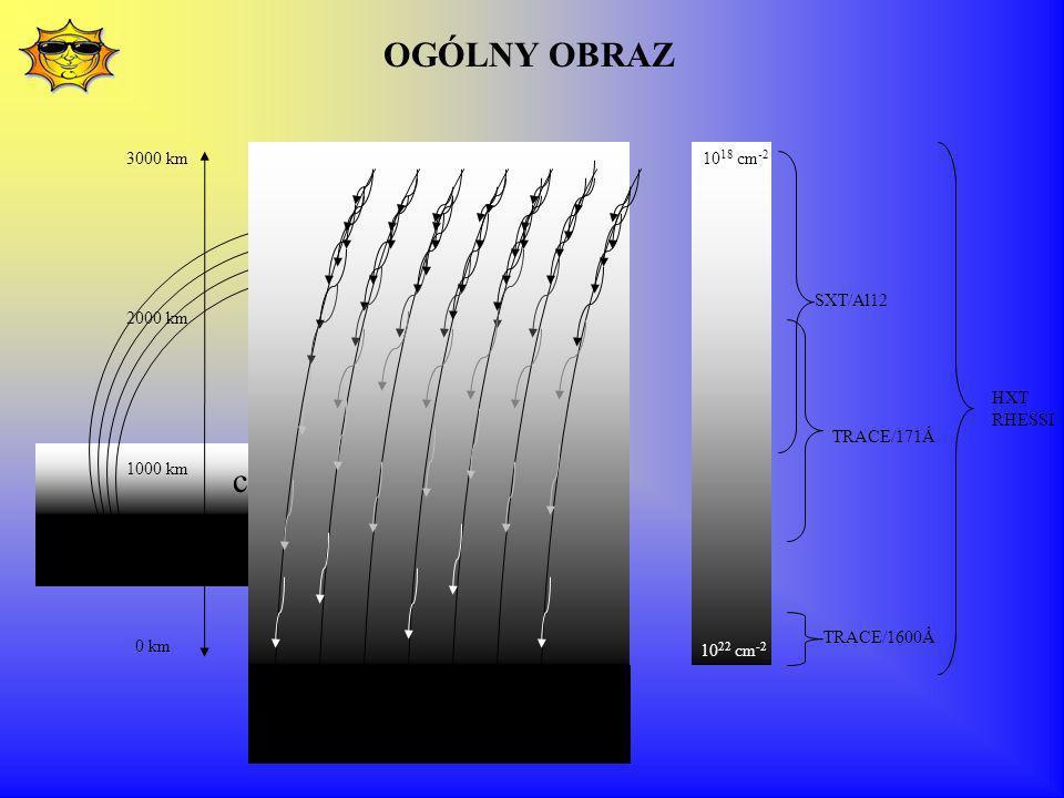 chromosfera korona SXT/Al12 TRACE/171Ǻ TRACE/1600Ǻ HXT RHESSI 3000 km 0 km 10 22 cm -2 10 18 cm -2 2000 km 1000 km OGÓLNY OBRAZ
