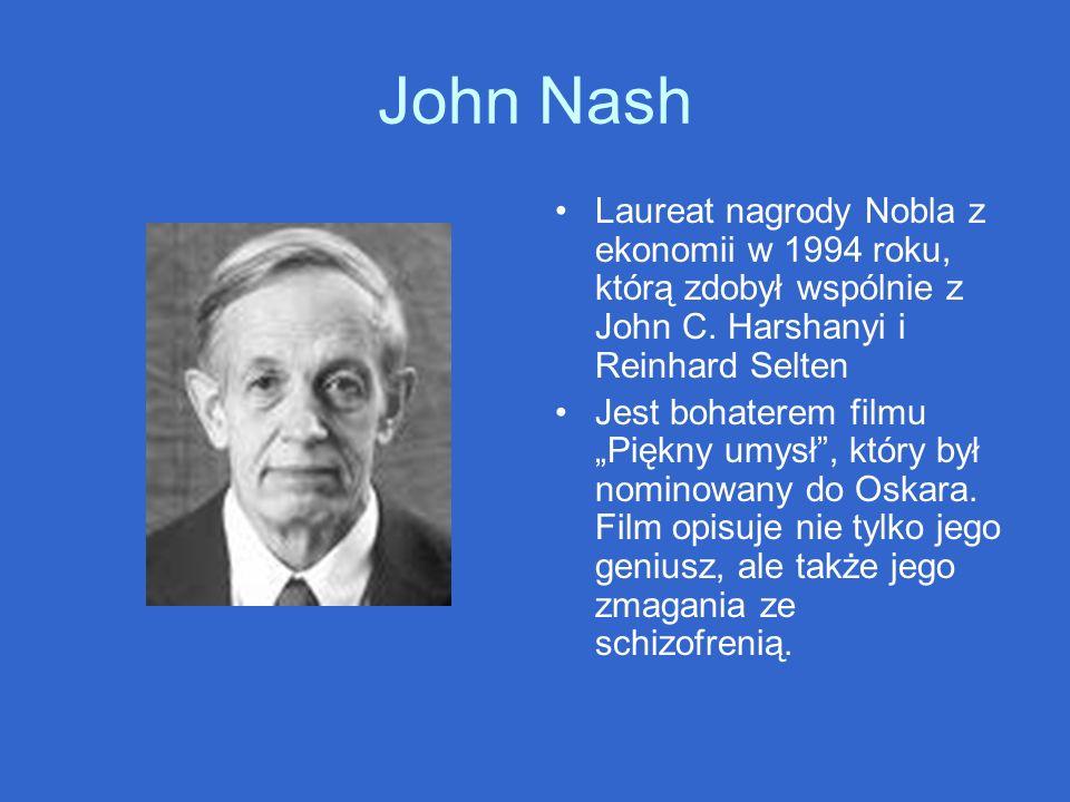 John Nash Laureat nagrody Nobla z ekonomii w 1994 roku, którą zdobył wspólnie z John C. Harshanyi i Reinhard Selten Jest bohaterem filmu Piękny umysł,