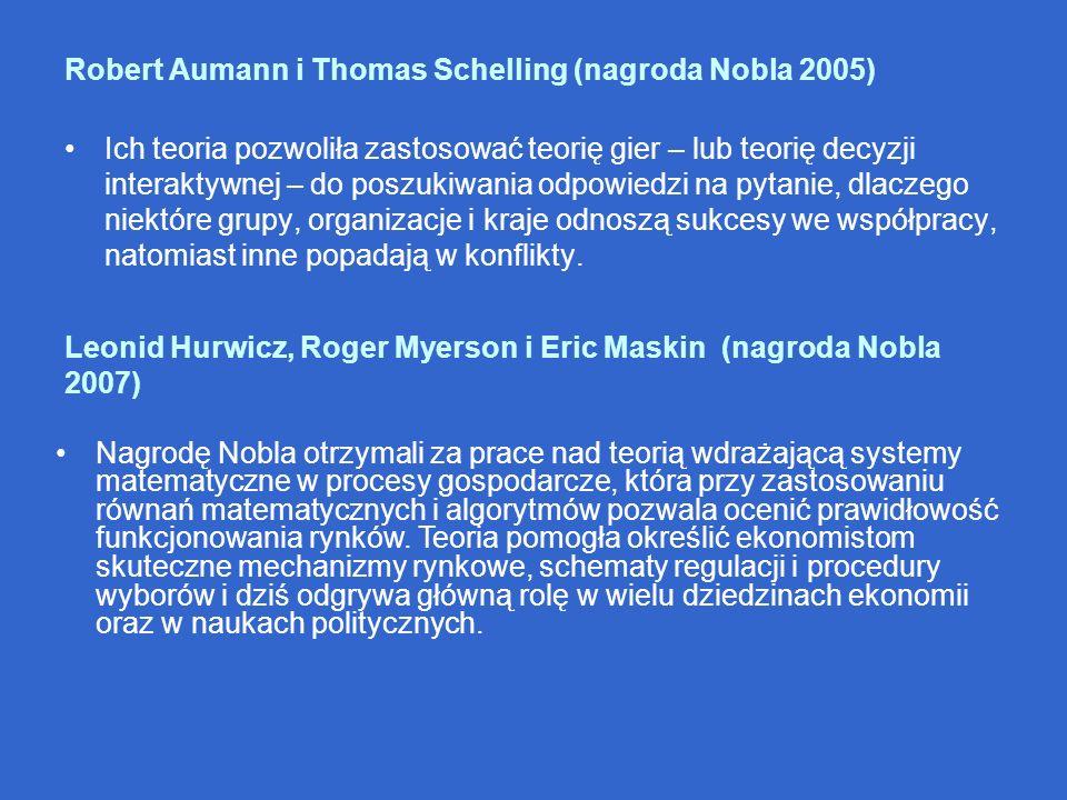 Robert Aumann i Thomas Schelling (nagroda Nobla 2005) Ich teoria pozwoliła zastosować teorię gier – lub teorię decyzji interaktywnej – do poszukiwania