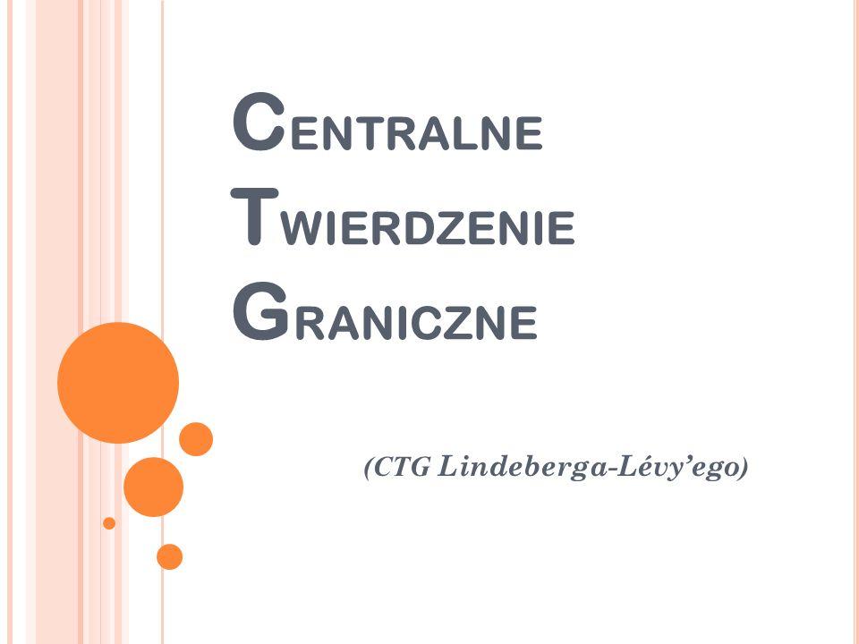 C ENTRALNE T WIERDZENIE G RANICZNE (CTG Lindeberga-Lévyego )