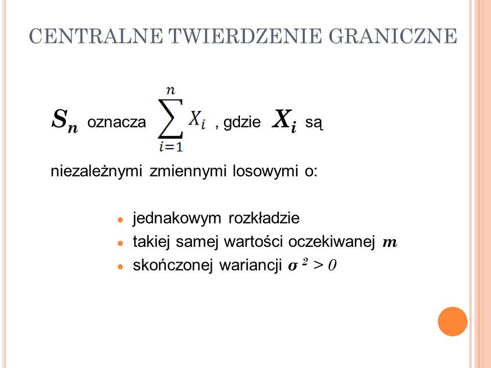 S n oznacza, gdzie X i są niezależnymi zmiennymi losowymi o: jednakowym rozkładzie takiej samej wartości oczekiwanej m skończonej wariancji σ 2 > 0 CE