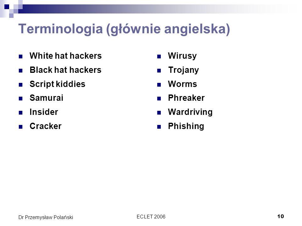 ECLET 200610 Dr Przemysław Polański Terminologia (głównie angielska) White hat hackers Black hat hackers Script kiddies Samurai Insider Cracker Wirusy