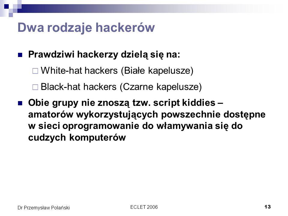 ECLET 200613 Dr Przemysław Polański Dwa rodzaje hackerów Prawdziwi hackerzy dzielą się na: White-hat hackers (Białe kapelusze) Black-hat hackers (Czar