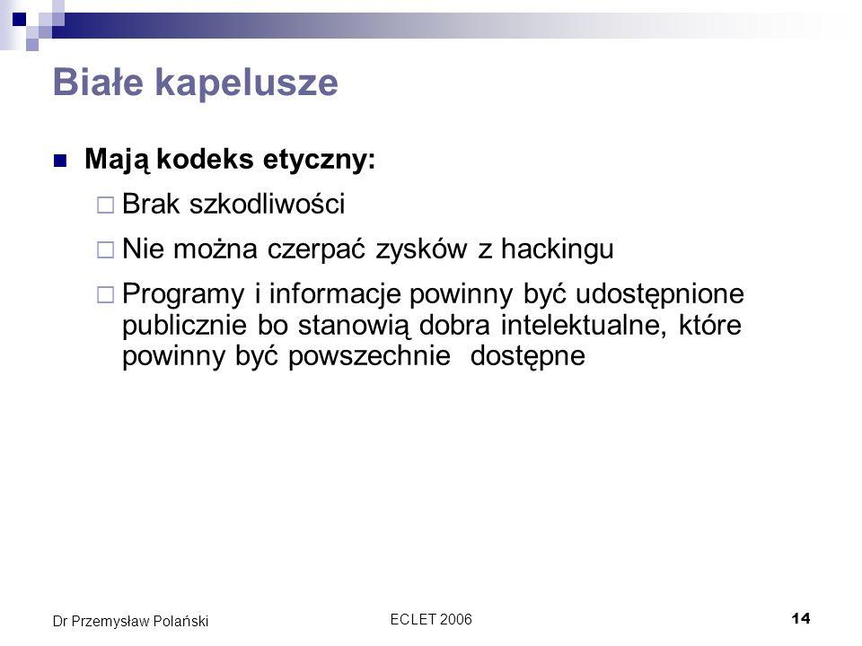 ECLET 200614 Dr Przemysław Polański Białe kapelusze Mają kodeks etyczny: Brak szkodliwości Nie można czerpać zysków z hackingu Programy i informacje p