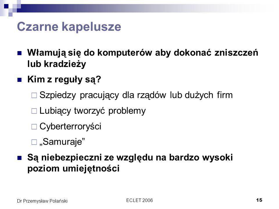 ECLET 200615 Dr Przemysław Polański Czarne kapelusze Włamują się do komputerów aby dokonać zniszczeń lub kradzieży Kim z reguły są? Szpiedzy pracujący