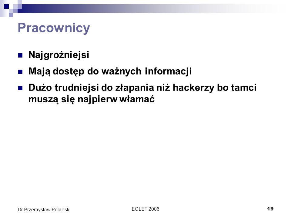 ECLET 200619 Dr Przemysław Polański Pracownicy Najgroźniejsi Mają dostęp do ważnych informacji Dużo trudniejsi do złapania niż hackerzy bo tamci muszą