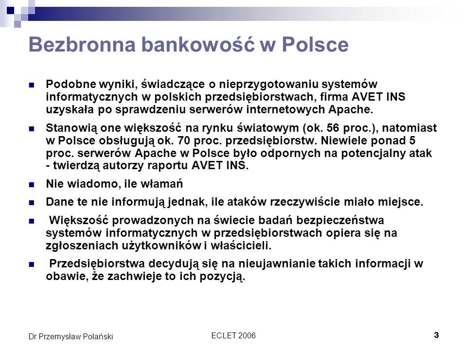 ECLET 20063 Dr Przemysław Polański Bezbronna bankowość w Polsce Podobne wyniki, świadczące o nieprzygotowaniu systemów informatycznych w polskich prze