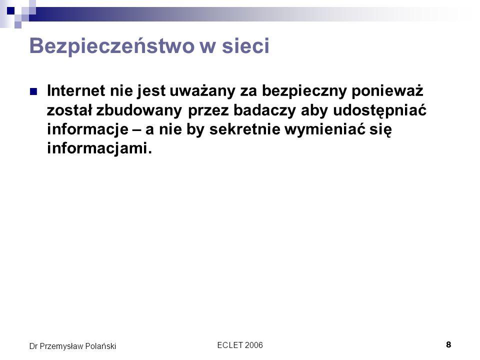 ECLET 20069 Dr Przemysław Polański Problemy Ludzka ignorancja Niemożliwość kontrolowania wszystkich komputerów podłączonych do Netu Błędy w oprogramowaniu Załączniki emailowe Instant messaging Packet sniffing