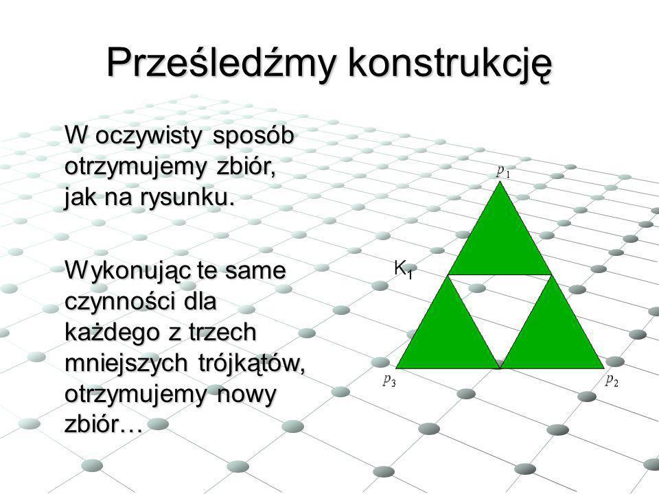 Prześledźmy konstrukcję W oczywisty sposób otrzymujemy zbiór, jak na rysunku. Wykonując te same czynności dla każdego z trzech mniejszych trójkątów, o