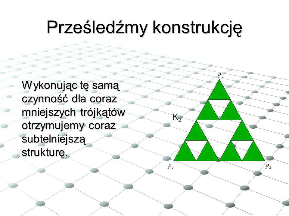 Prześledźmy konstrukcję Wykonując tę samą czynność dla coraz mniejszych trójkątów otrzymujemy coraz subtelniejszą strukturę.
