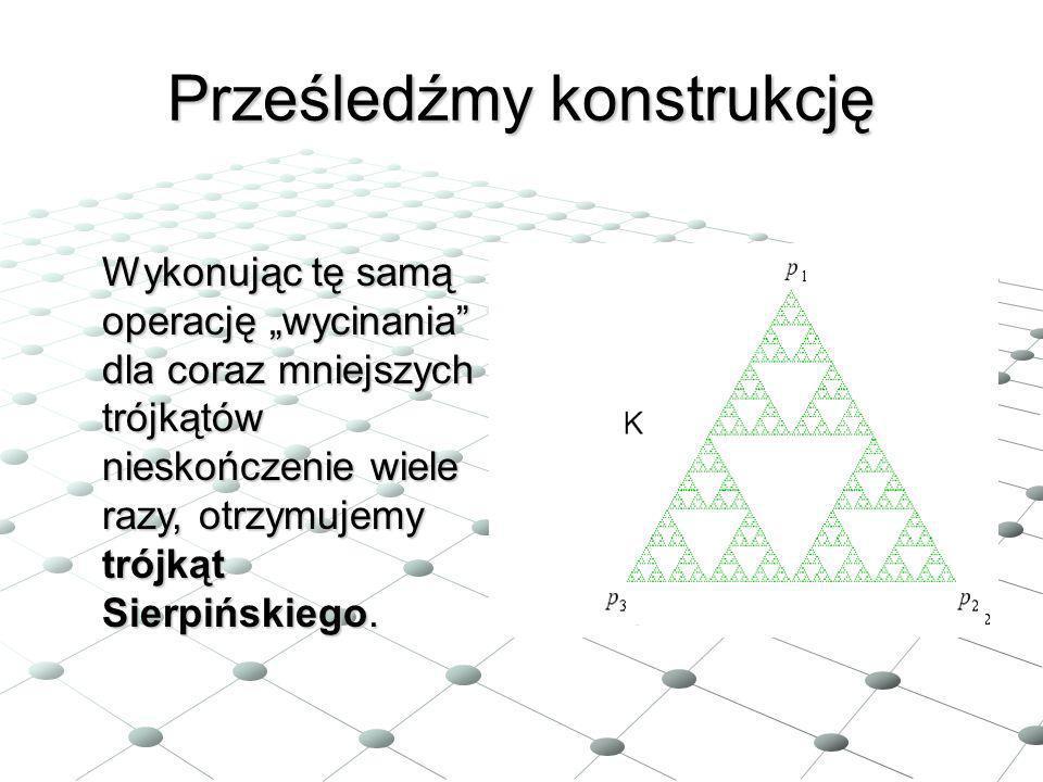 Prześledźmy konstrukcję Wykonując tę samą operację wycinania dla coraz mniejszych trójkątów nieskończenie wiele razy, otrzymujemy trójkąt Sierpińskieg