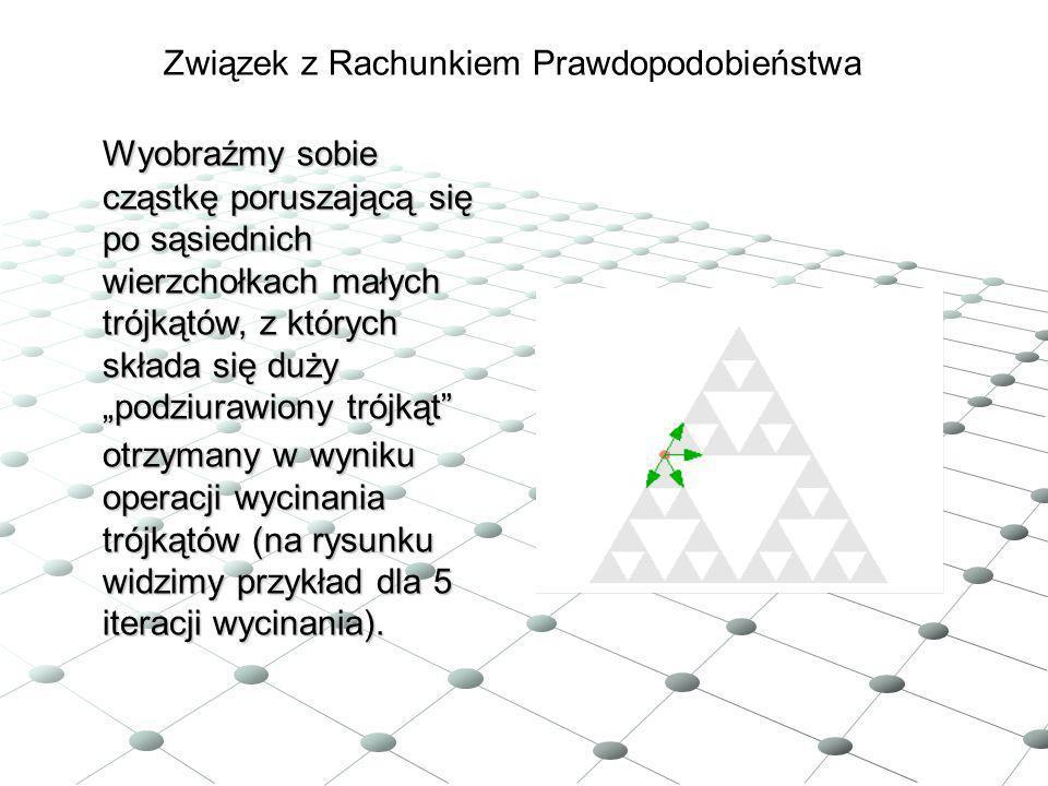 Związek z Rachunkiem Prawdopodobieństwa Wyobraźmy sobie cząstkę poruszającą się po sąsiednich wierzchołkach małych trójkątów, z których składa się duż