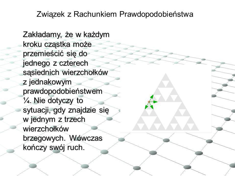 Zakładamy, że w każdym kroku cząstka może przemieścić się do jednego z czterech sąsiednich wierzchołków z jednakowym prawdopodobieństwem ¼. Nie dotycz