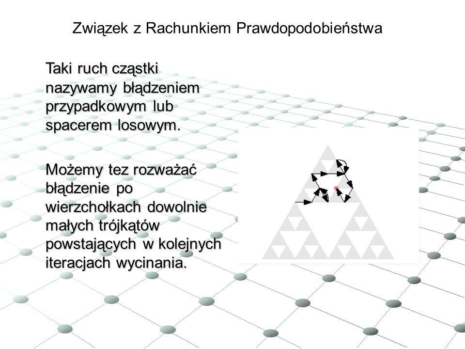 Taki ruch cząstki nazywamy błądzeniem przypadkowym lub spacerem losowym. Możemy tez rozważać błądzenie po wierzchołkach dowolnie małych trójkątów pows