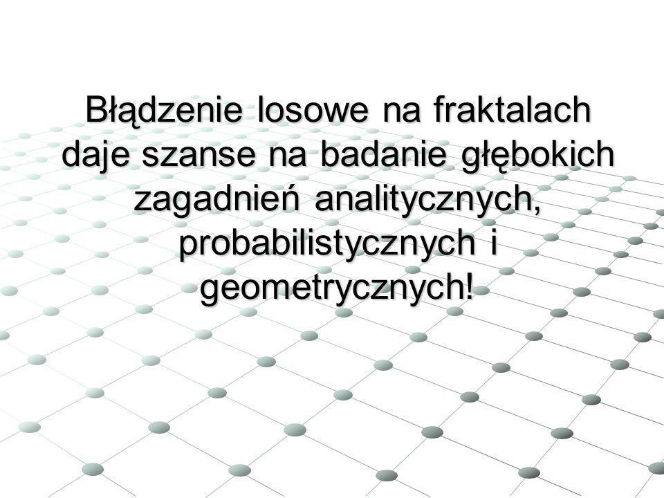 Błądzenie losowe na fraktalach daje szanse na badanie głębokich zagadnień analitycznych, probabilistycznych i geometrycznych!