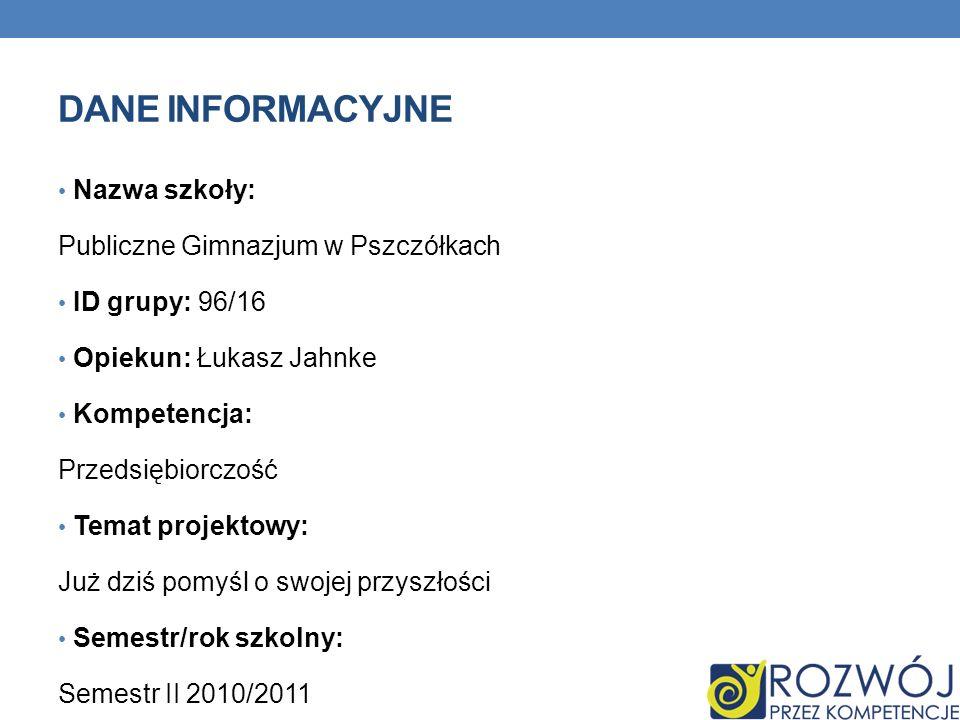 DANE INFORMACYJNE Nazwa szkoły: Publiczne Gimnazjum w Pszczółkach ID grupy: 96/16 Opiekun: Łukasz Jahnke Kompetencja: Przedsiębiorczość Temat projekto