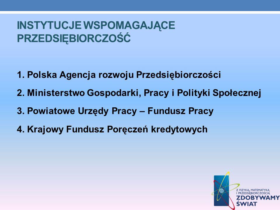 INSTYTUCJE WSPOMAGAJĄCE PRZEDSIĘBIORCZOŚĆ 1. Polska Agencja rozwoju Przedsiębiorczości 2. Ministerstwo Gospodarki, Pracy i Polityki Społecznej 3. Powi