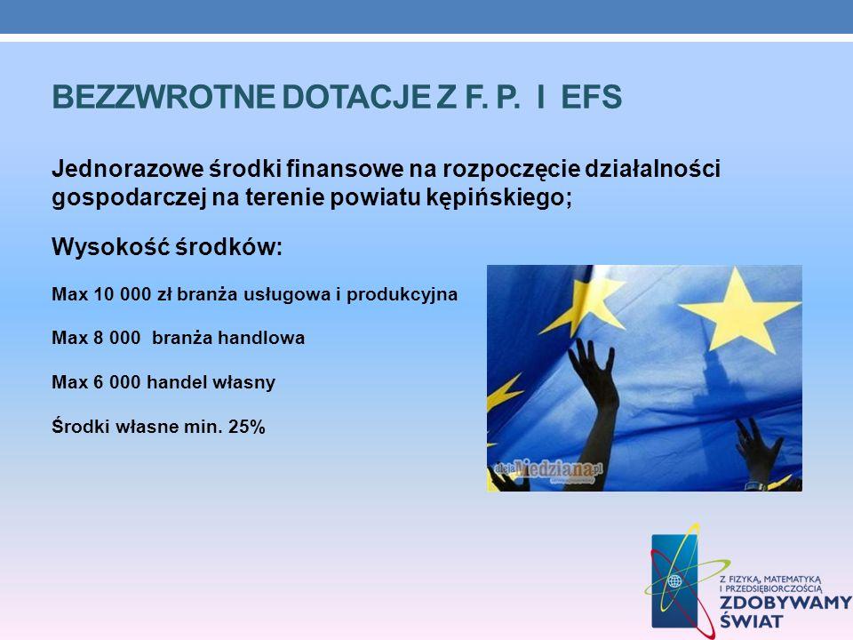 BEZZWROTNE DOTACJE Z F. P. I EFS Jednorazowe środki finansowe na rozpoczęcie działalności gospodarczej na terenie powiatu kępińskiego; Wysokość środkó