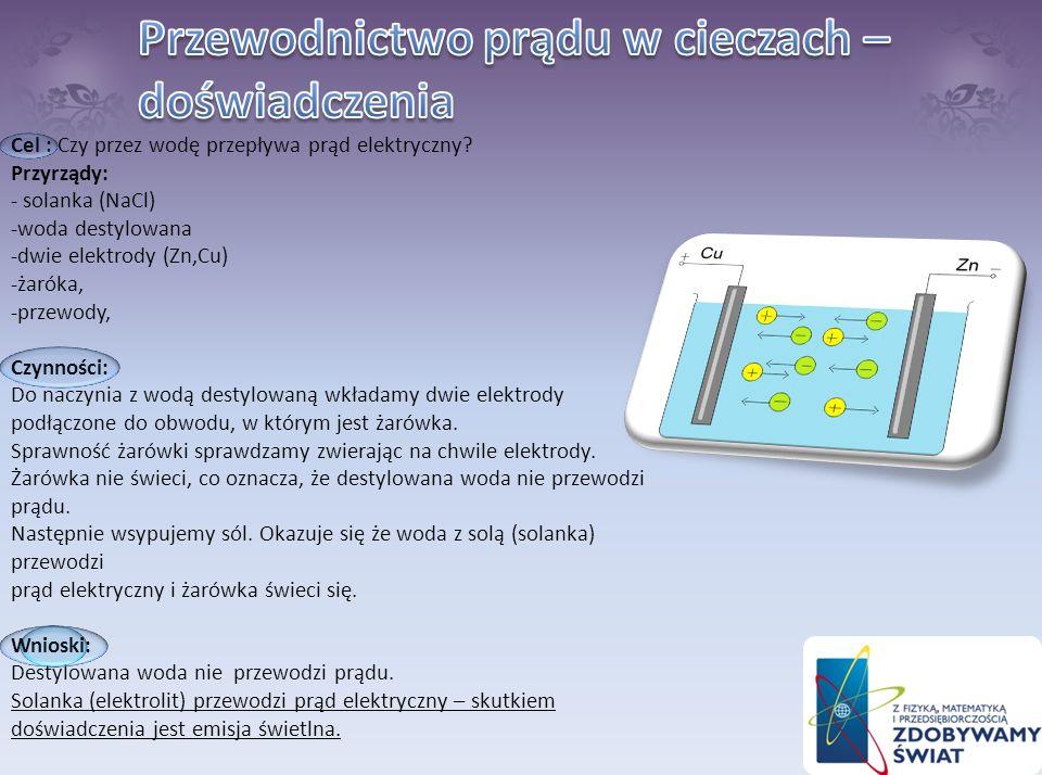 Cel: Badanie przewodnictwa elektrycznego kwasu cytrynowego. Konieczne przyrządy i przedmioty: cytryna, przewody (miedziany i aluminiowy), woltomierz W