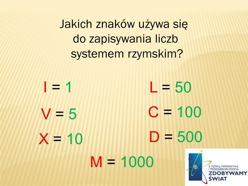 Jakich znaków używa się do zapisywania liczb systemem rzymskim? I = 1 V = 5 X = 10 L = 50 C = 100 D = 500 M = 1000