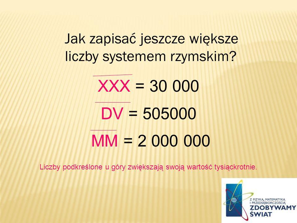 Jak zapisać jeszcze większe liczby systemem rzymskim? XXX = 30 000 DV = 505000 MM = 2 000 000 Liczby podkreślone u góry zwiększają swoją wartość tysią