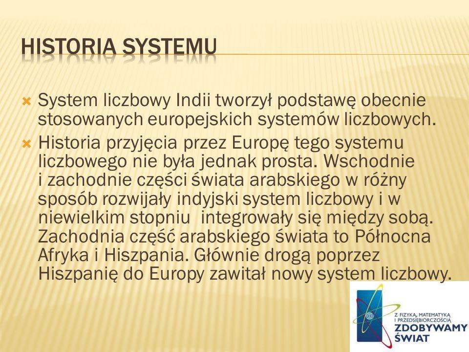 System liczbowy Indii tworzył podstawę obecnie stosowanych europejskich systemów liczbowych. Historia przyjęcia przez Europę tego systemu liczbowego n
