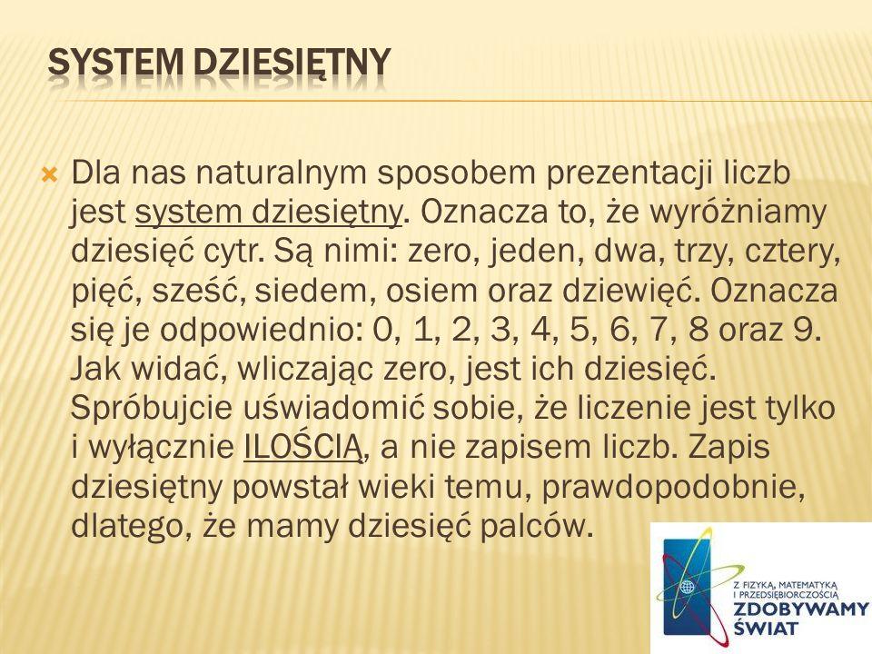 Dla nas naturalnym sposobem prezentacji liczb jest system dziesiętny. Oznacza to, że wyróżniamy dziesięć cytr. Są nimi: zero, jeden, dwa, trzy, cztery
